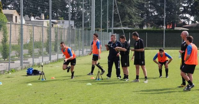 Una fase dei test atletici durante il Raduno Play Off.